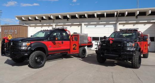 New off-road brushpumpers will be used to fight grass fires, brush fires, and wildland fires